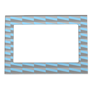 Geometric Pattern in Cool Blue and Gray. Magnetic Picture Frame