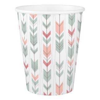 Geometric pattern in retro style paper cup