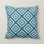 Geometric Pattern in Teal Blue Cushion