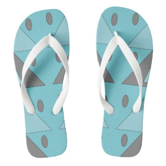 Geometric Pattern Light Blue Turquoise Gray Funny Flip Flops