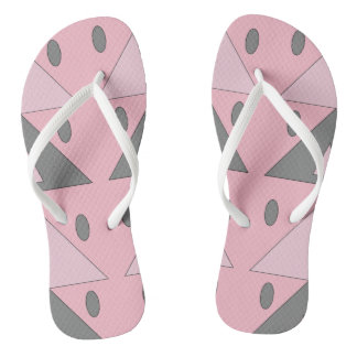 Geometric Pattern Light Soft Pink Gray Funny Flip Flops