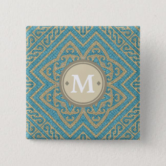Geometric Pattern Monogram Turquoise Gold ID161 15 Cm Square Badge