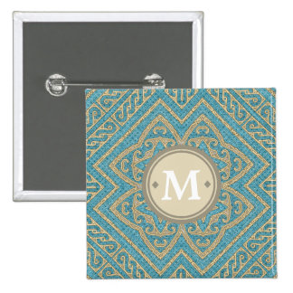 Geometric Pattern Monogram Turquoise Gold ID161 15 Cm Square Badge