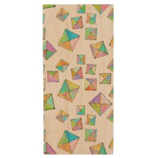 Geometric pattern of jewel colored squares fun art wood USB 3.0 flash drive