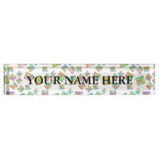 Geometric pattern of jewel colored squares fun art desk name plate
