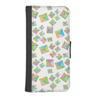 Geometric pattern of jewel colored squares fun art iPhone 5 wallet cases