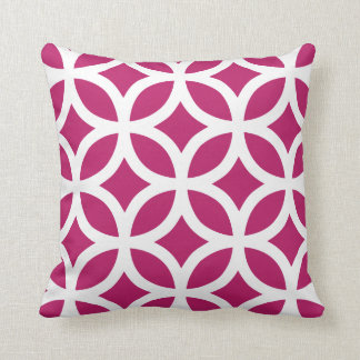 Geometric Pattern Pillow in Madder Carmine Red Throw Cushions