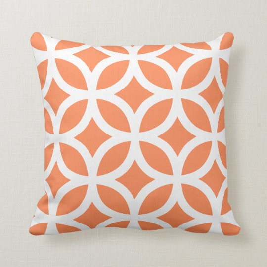 Geometric Pattern Pillow in Nectarine Orange