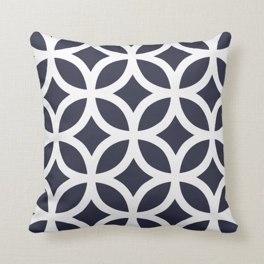 Geometric Pattern Pillows in Navy Blue