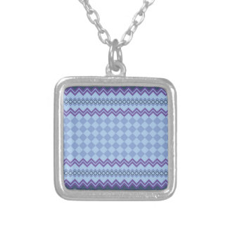 Geometric pattern silver plated necklace