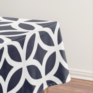 Geometric Pattern Tablecloth In Classic Blue