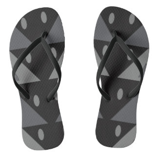 Geometric Pattern Triangles Ovals Black Gray Funny Flip Flops