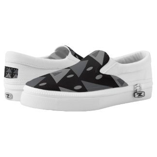 Geometric Pattern Triangles Ovals Black Gray Funny Slip-On Shoes