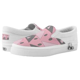 Geometric Pattern Triangles Ovals Pink Gray Funny Slip-On Shoes
