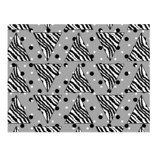 Geometric Pattern with Zebra Stripes and Dots Postcard