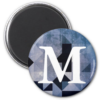 Geometric Patterns | Blue Triangles and Diamonds 6 Cm Round Magnet