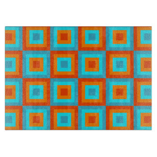Geometric Patterns Color Turquoise Orange Cutting Board