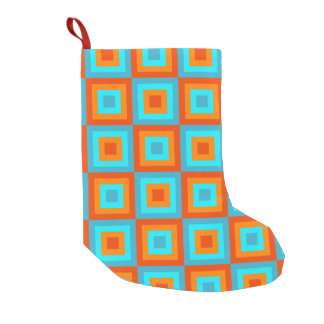 Geometric Patterns Color Turquoise Orange Small Christmas Stocking