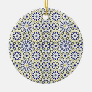 Geometric Patterns in Yellow and Blue Christmas Ornament