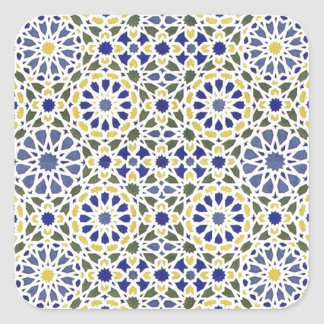 Geometric Patterns in Yellow and Blue Square Sticker