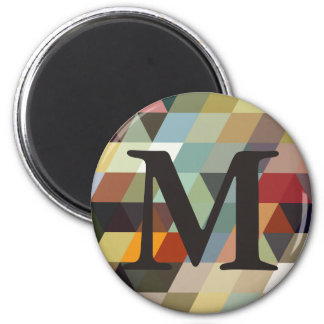 Geometric Patterns | Multicolor Triangles 6 Cm Round Magnet
