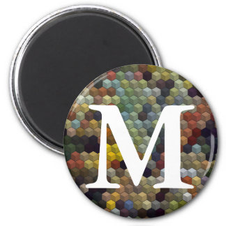 Geometric Patterns | Multicolored cubes and square 6 Cm Round Magnet