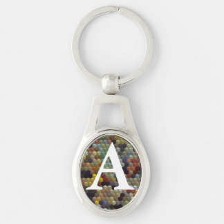 Geometric Patterns | Multicolored cubes and square Silver-Colored Oval Key Ring