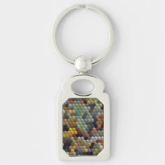 Geometric Patterns | Multicolored cubes and square Silver-Colored Rectangle Key Ring
