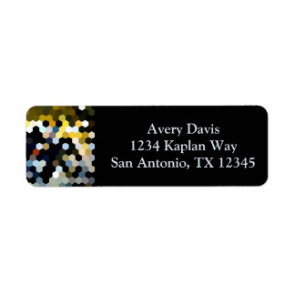 Geometric Patterns | Yellow and Blue Hexagons Return Address Label