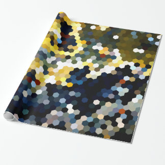 Geometric Patterns | Yellow and Blue Hexagons Wrapping Paper