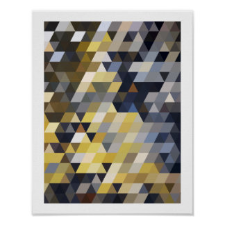 Geometric Patterns | Yellow and Blue Triangles Poster