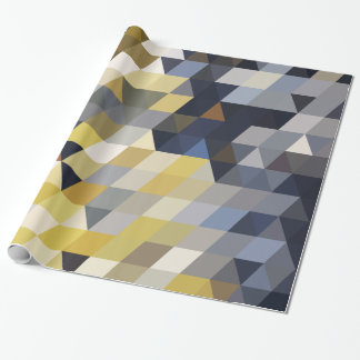 Geometric Patterns | Yellow and Blue Triangles Wrapping Paper
