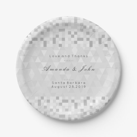Geometric Personalised Gray Silver White Wedding 7 Inch