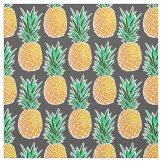 Geometric Pineapple on Black Fabric Print