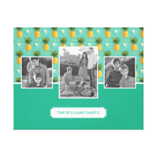 Geometric Pineapple Pattern | Family Photos & Text Canvas Print