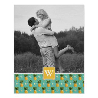Geometric Pineapple Pattern | Photo With Monogram Poster