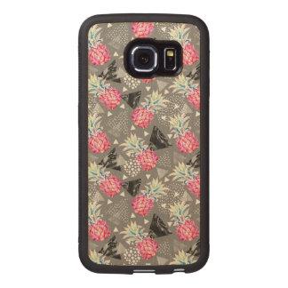 Geometric Pineapple Textured Pattern Wood Phone Case