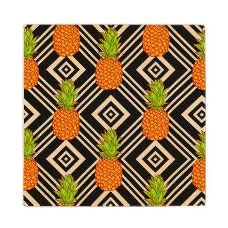 Geometric Pineapples Wood Coaster