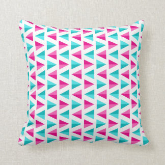 Geometric Pink & Aqua Blue Triangles Pattern Cushion