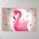 Geometric Pink Flamingo Poster