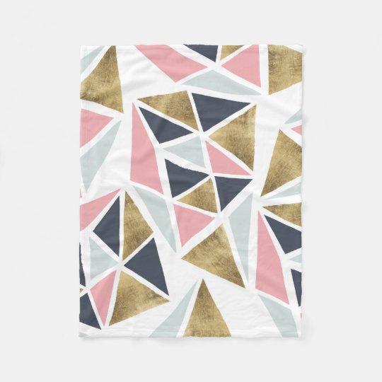 Chic Modern Faux Rose Gold Geometric Triangles Fleece