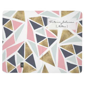 Geometric pink navy blue gold triangles pattern journal