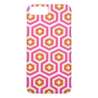 Geometric Pink Orange Hexagon & Cross Pattern iPhone 7 Plus Case