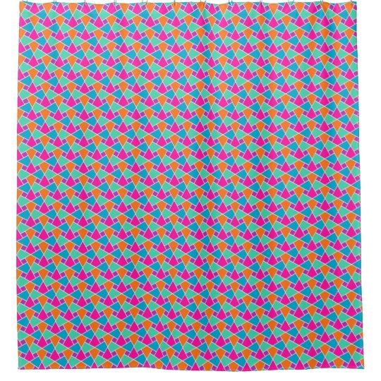 Geometric Pink, Orange, Turquoise, Green Islamic Shower Curtain