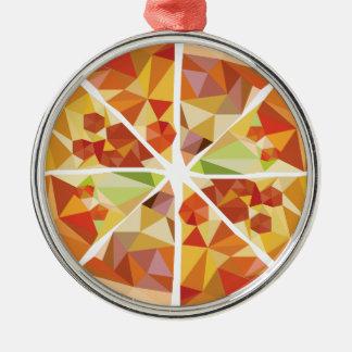 Geometric pizza christmas ornament