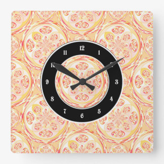 Geometric pizza pattern square wall clock