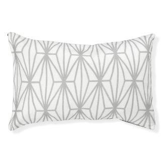 Geometric Print Dog Bed, Gray & White