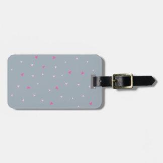 Geometric Print Gray Pink Luggage Tag