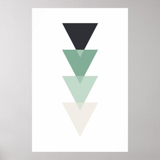 Geometric print. Modern teal. Triangle wall art