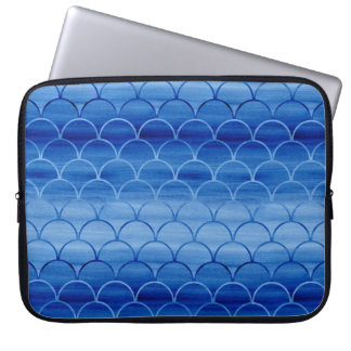 Geometric Prussian Blue Watercolor Scales Laptop Sleeve